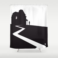 hitchcock Shower Curtains featuring The Black Collection' Hitchcock Movie by Alain Bossuyt