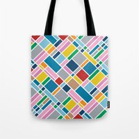 karu kara Tote Bags featuring Map Outline 45  by Project M