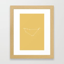 Capricorn Zodiac Constellation - Golden Yellow Framed Art Print