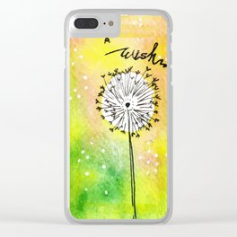 Watercolor Dandelion - Make a wish Clear iPhone Case