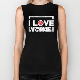 Yorkie Design I Love My Yorkie Frame Dots Chunky Font Biker Tank