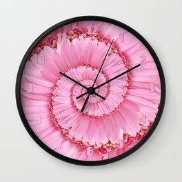 Pink Gerbera Spiral Flower Droste Effect  Wall Clock