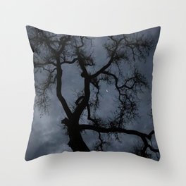 Oak Tree and Crescent Moon in Stormy Skies Throw Pillow
