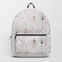 Hexagonal Leaves of Rose Gold on White Marble Backpack