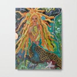 Mermaid and Baby Metal Print