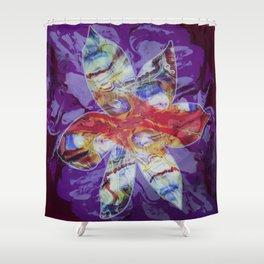 Bright Abstract Flower; Purple, Lavender and Maroon Background; Fluid Abstract 55 Shower Curtain