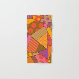 Graphic Leaf Patchwork (Fall Bold Colors) Hand & Bath Towel