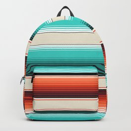 Navajo White, Turquoise and Burnt Orange Southwest Serape Blanket Stripes Backpack
