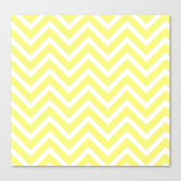 Chevron Stripes : Yellow & White Canvas Print