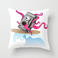 Monster Camera Surfing Throw Pillow
