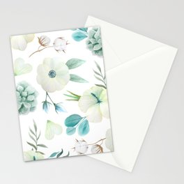 Watercolor Cyan Floral Stationery Cards