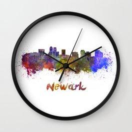 Newark skyline in watercolor Wall Clock