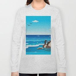 Otter Sunbathing on the Beach Long Sleeve T-shirt