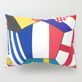 Football ball with various flags - semifinal and final Pillow Sham