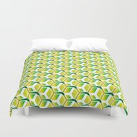 green pattern Duvet Covers featuring pattern green by colli1 3designs