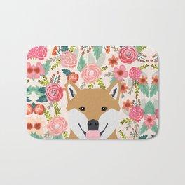 Shiba Inu florals spring summer bright girly hipster dog meme shiba ink puppy pet portraits Bath Mat
