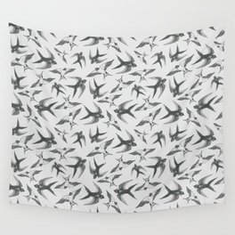 Swooping Swallows in Grey Wall Tapestry