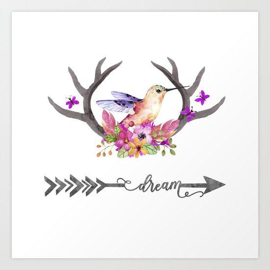 Hummingbird on floral Antlers and Dream arrow Art Print