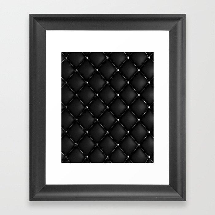 Black Quilted Leather Gerahmter Kunstdruck