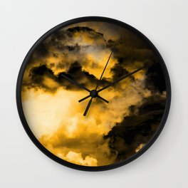 Vitality - Cloudy Abstract In Orange And Black Wall Clock