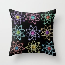 Gold and Silver Atomic Structure Pattern Throw Pillow