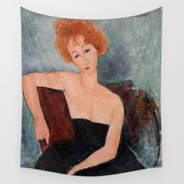 Redheaded Girl in Evening Dress by Amedeo Modigliani, 1918 Wall Tapestry