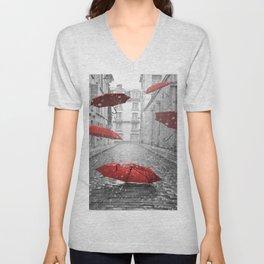 red umbrellas Unisex V-Neck