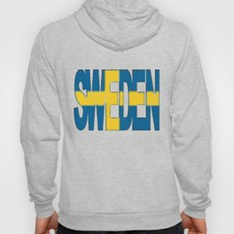 Sweden Font with Swedish Flag Hoody