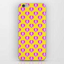 Skull heart pattern, punk rock skull, punk girl, love kills, yellow pink hearts, girly emo skull iPhone Skin