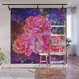 Roses with sparkles and purple infusion Wall Mural