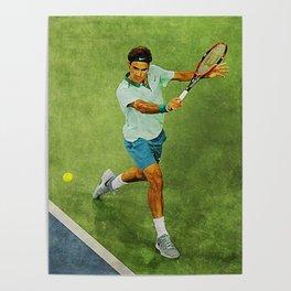 Roger Federer Tennis Backhand Poster