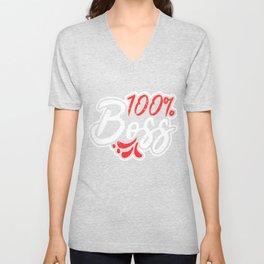 100% Boss Girl Entrepreneur Boujee Melanin Christmas Gift product Unisex V-Neck