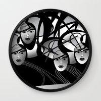 oriental Wall Clocks featuring oriental women by Sandyshow
