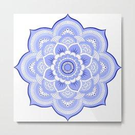 Periwinkle Mandala Flower Metal Print