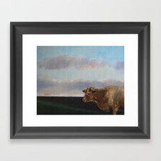 cow thinking about grass Framed Art Print