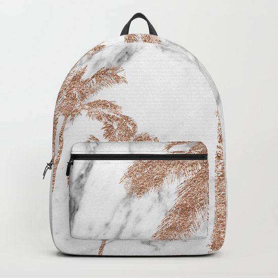 Rose gold palms on marble Backpack