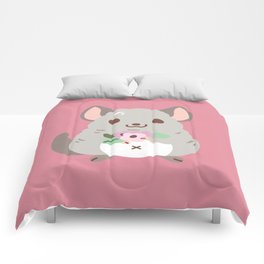 Chinchilla and flowers Comforters