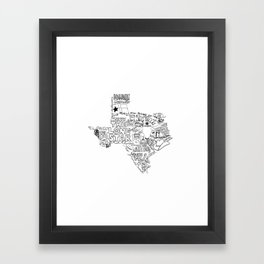 Texas - Hand Lettered Map Framed Art Print