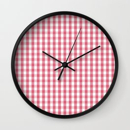 Nantucket Red Gingham Check Plaid Pattern Wall Clock