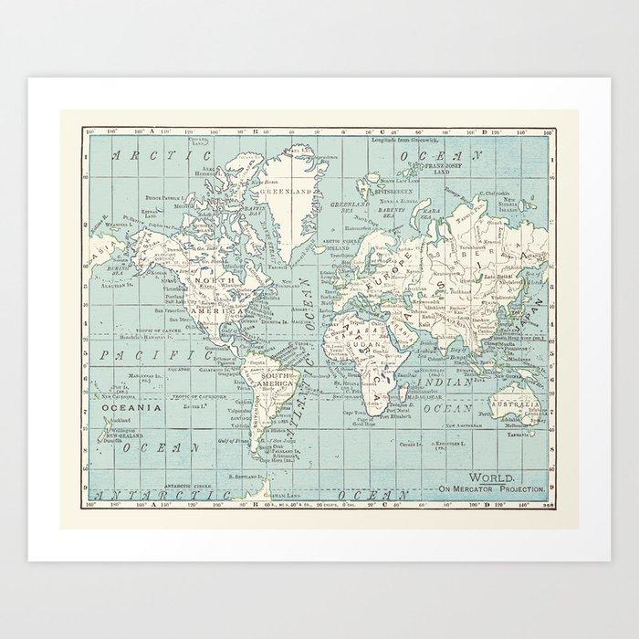 World Map in Blue and Cream Kunstdrucke