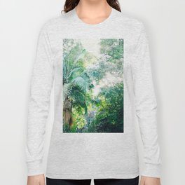 Lost in the jungle bright green tropical palm tree forest photography Long Sleeve T-shirt