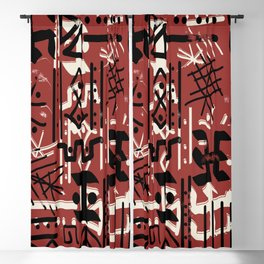 Ethnic Style Sketch black,white on red clay ex large Blackout Curtain