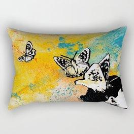 Long Gone Whisper III (street art graffiti painting, girl with butterflies) Rectangular Pillow