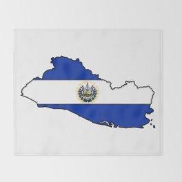 El Salvador Map with Salvadoran Flag Throw Blanket