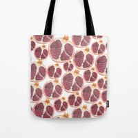 pomegranate Tote Bags featuring pomegranate by austeja saffron