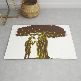 Adam and Eve Apple Serpent Woodcut Rug