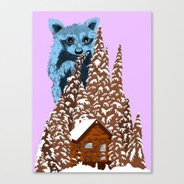 Raccoon in the woods Canvas Print