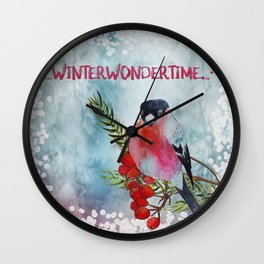 Winter Wondertime - Merry christmas - Little finch on branch-covered with snow Wall Clock
