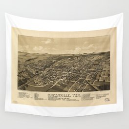 Aerial View of Greenville, Texas (1886) Wall Tapestry