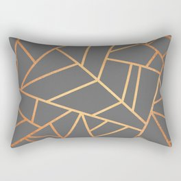 Copper And Grey Rectangular Pillow